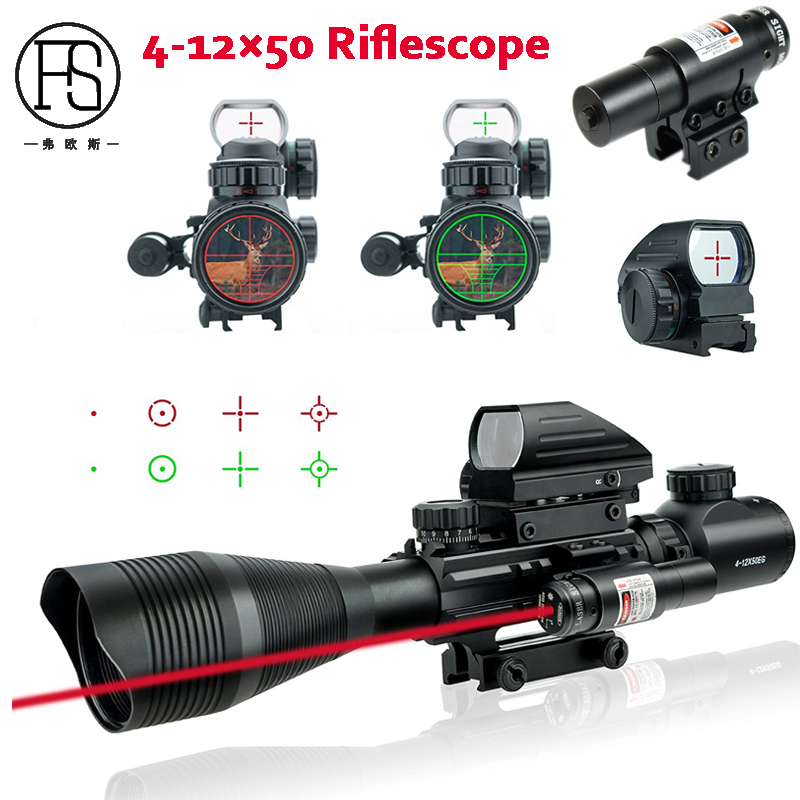 20mm Rail Use Tactical Riflescope 4-12X50 EG Fiber Scope Holographic Sight 4 Reticle Red Green Dot Sight Red Laser Scope 3 10x42 red laser m9b tactical rifle scope red green mil dot reticle with side mounted red laser guaranteed 100%