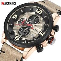 CURREN Chronograph Sport Man Watch Men's Watches 8288 Luxury Brand Leather Quartz Male Wristwatch Men Montre Homme Hodinky Clock