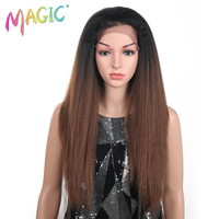 M 26 Inch Long Yaki Straight Synthetic Lace Front Wig For Black Women 150% Density Artificial Hair Ombre Wigs With Baby Hair