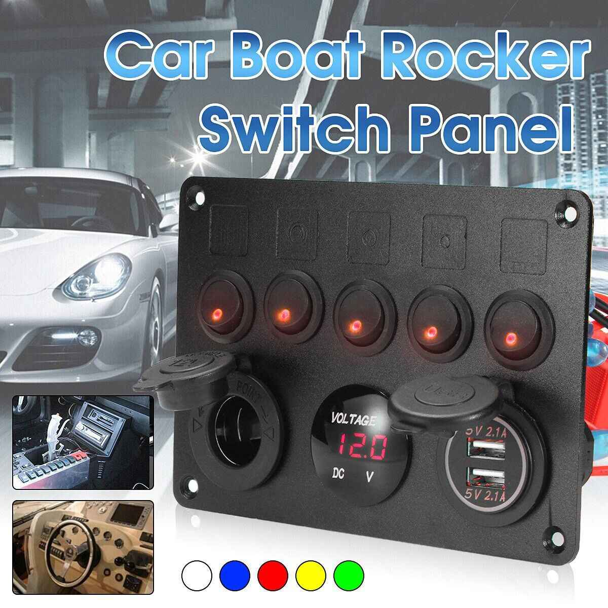 5 Gang Switch Panel Auto Car Marine Boat LED Rocker Switch Panel Voltmeter Dual USB Power Charger Socket Rear With 15A Fuse