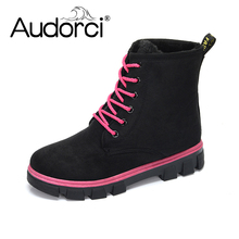 Audorci 2018 New Women Boots Lace up Solid Casual Ankle Boots Round Toe Women Shoes Winter Snow Shoes Warm British Style