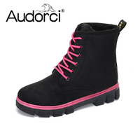 Audorci 2018 New Women Boots Lace Up Solid Casual Ankle Boots Round Toe Women Shoes Winter