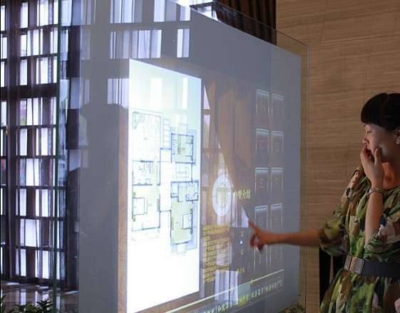 2 points touch 80 inch interactive touch screen overlay foil Film through glass window shop / film side Tail