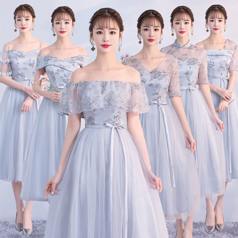 Grey Midi Dress Bridesmaid Dresses Wedding Party For Women  Floral Embroidery  Dress Back Of Bandage