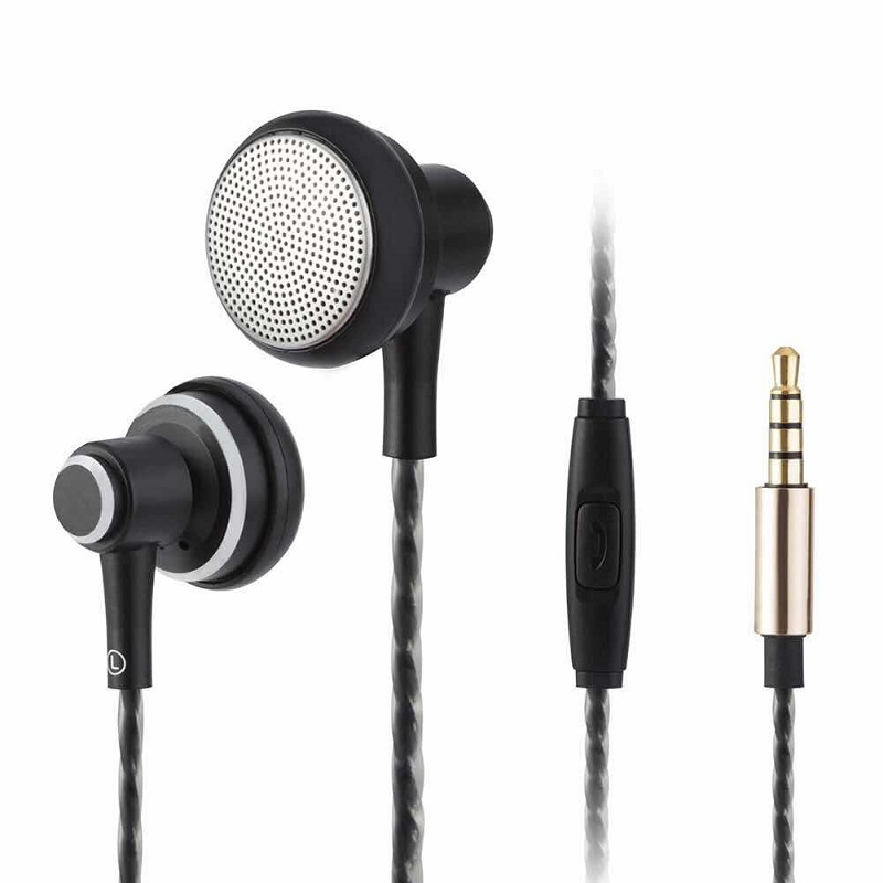 2018 New Flat Earphone Stereo BASS headset With Microphone fone de ouvido gaming audifonos dj mp3 player for phone xiaomi metal professional earphone metal heavy bass music earpiece for highscreen power ice evo ice max headset fone de ouvido with mic