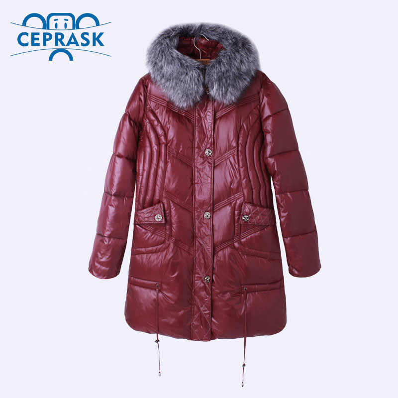 Ceprask 2018 High Quality women's Winter Down Jacket Plus Size X-Long Female Coats Fashion Fur Warm Parka camperas 4XL 5XL 6XL