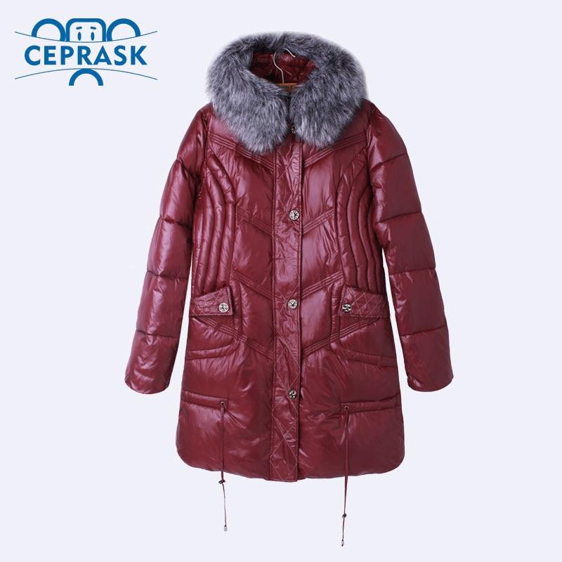 Ceprask 2018 High Quality women's Winter Down Jacket Plus Size X-Long Female Coats Fashion Fur Warm Parka camperas 4XL 5XL 6XL