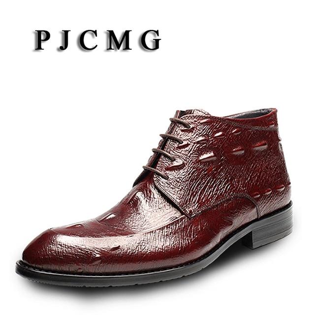 PJCMG Lüks Sivri Burun Dantel-Up Timsah Desen Klasik Iş Erkekler Için Hakiki Deri Rahat Ayak Bileği Elbise Çizmeler