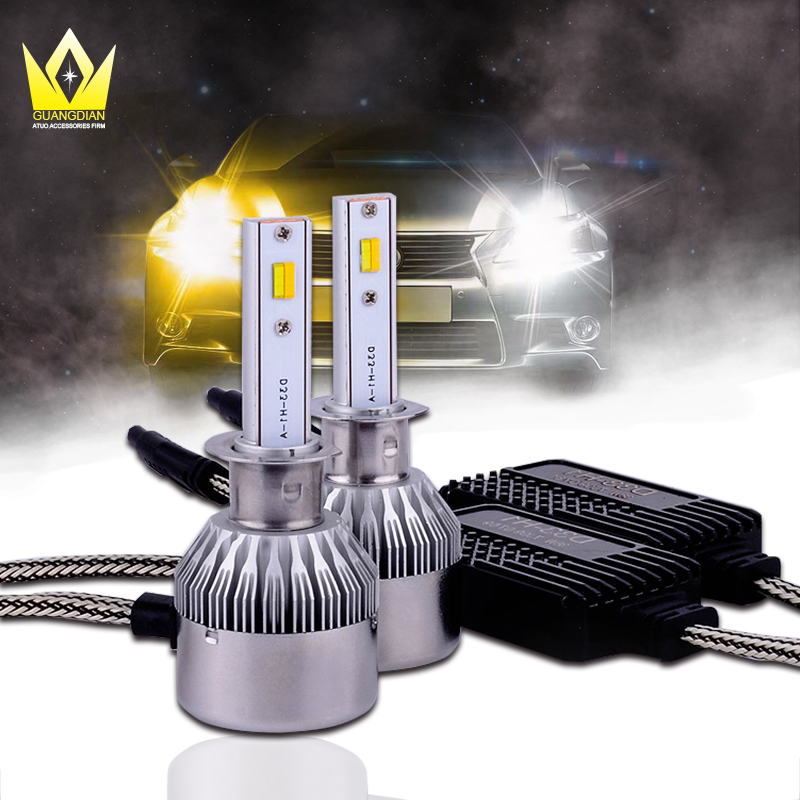 Tcart 1Set Car Headlights LED Bulbs D33 H1 Free Canbus Auto Led White Headlamp With Yellow Lights For VW Jetta Volkswagen Golf 6