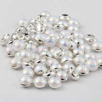 8mm 50pcs/pack Round Rhinestones Pearl Buttons Sewing Tools Decorative Button silver side 15 colors for choose