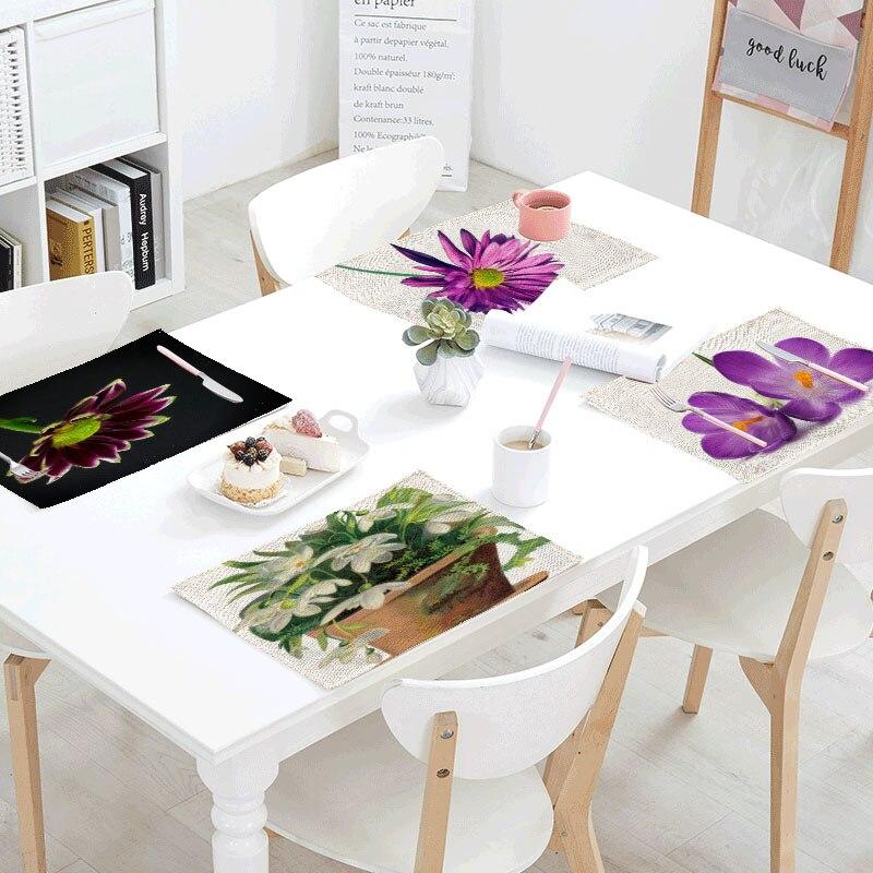Flowers Gift Sheets Napkins Tea Table mats Placemats Polyester Rose Pot Plants Servilletas Para Bodas Design Party Decoration