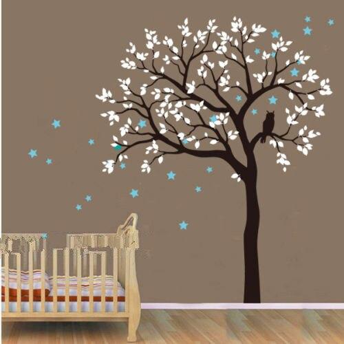 C068 hibou Hoot étoiles grande taille grand arbre Stickers muraux décor à la maison vinyle mural décalque enfants pépinière bébé chambre décor Art AU