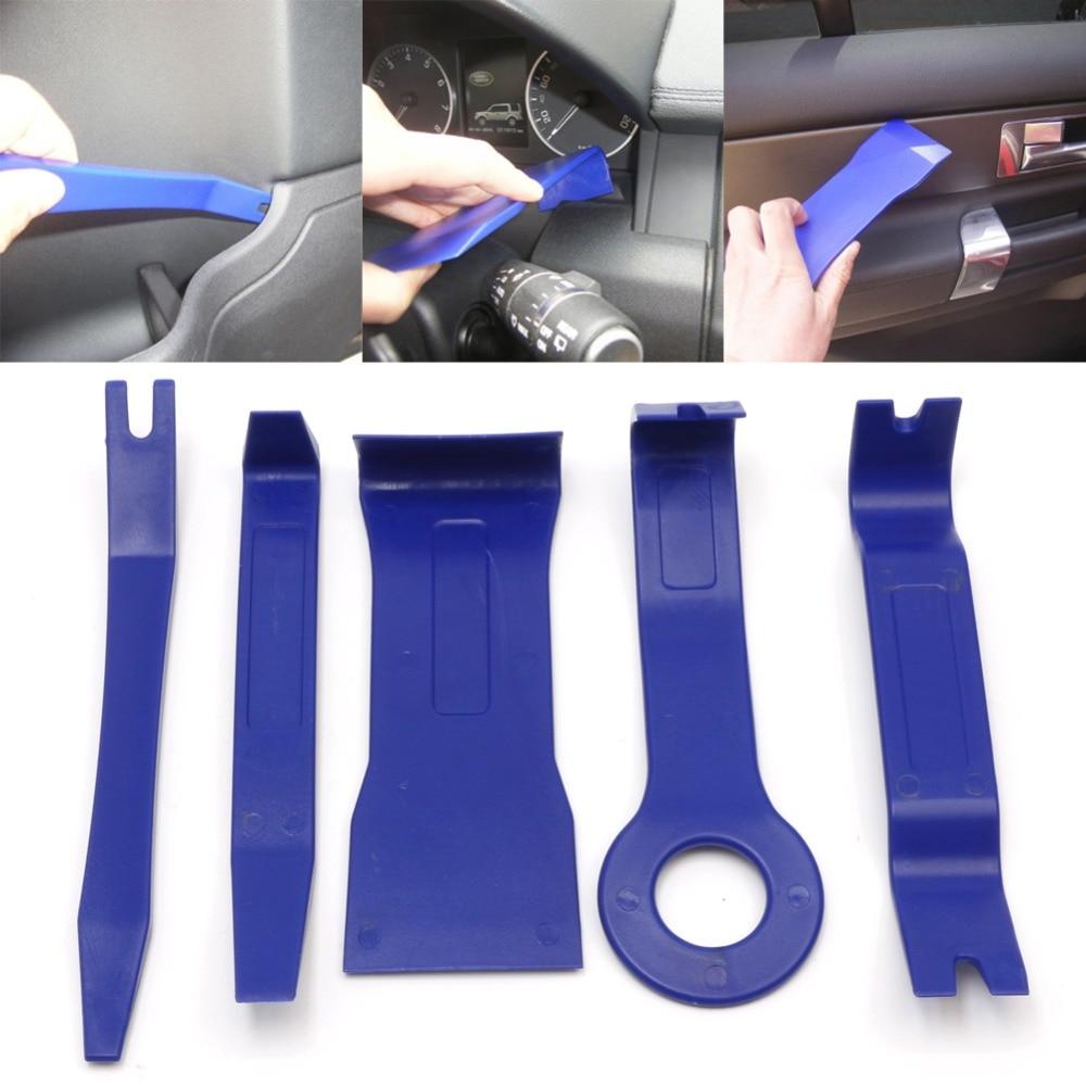 Prix pour 5 Pcs/ensemble De Voiture Intérieur Dash Radio Porte Clip Panneau Garniture Ouvert Outils de Suppression Kit