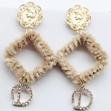 2018 Korean New Winter Square Fur Ball Dangle Earrings For Women Letter D Sweet Pom Oorbellen