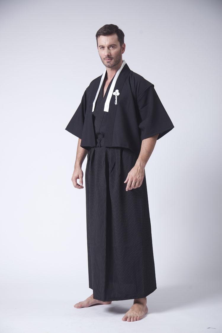 ecafd324442a2 US $38.44 38% OFF Schwarz Japanische männer Kimono Mit Obi Heißer Verkauf  Traditionelle Bühne Leistung Dance Yukata Konvention Kostüm Eine Größe ...