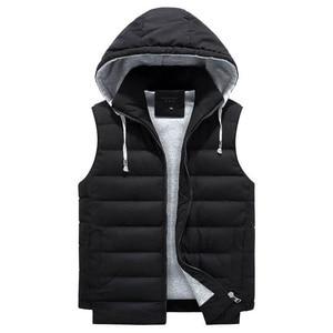 Image 2 - 4XL 8XL Plus Size 2019 New Vest Men Winter Warm Fashion Casual Work Vest Waistcoat Hooded Zipper Solid Sleeveless Jacket 3ZWJ14
