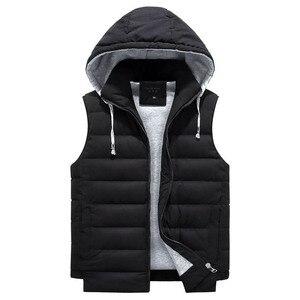 Image 2 - Chaleco grande 4XL 8XL para hombre, chaleco de trabajo informal a la moda, cálido, con capucha y cremallera, color sólido, sin mangas, 3ZWJ14, 2019