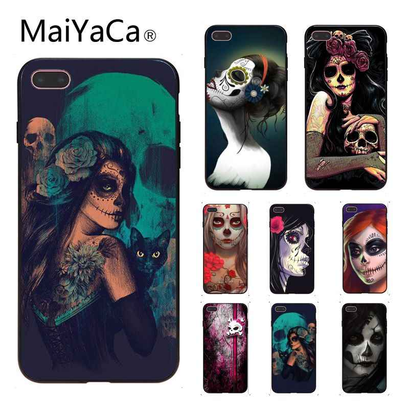 MaiYaCa 砂糖悪魔の頭蓋骨アートカスタマイズされた写真黒ソフトシェル電話ケース iphone 7 7 プラス x 8 8 プラスと 5 5 s 6 s 6 s プラス
