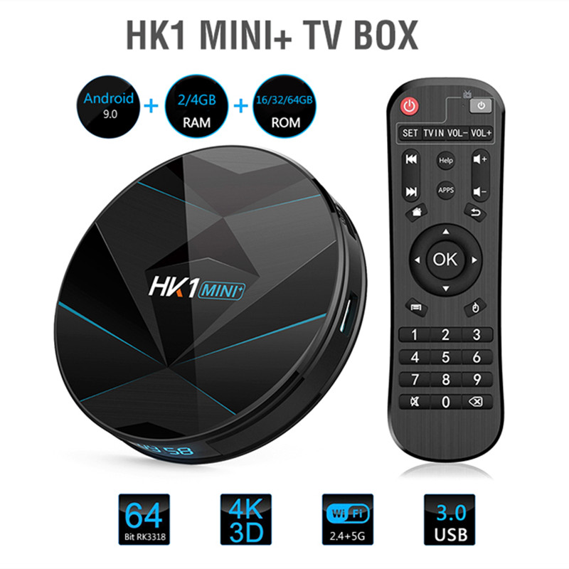 HK1 MINI + Smart TV Box Android 9.0 Rockchip 3318 2/4 GB + 16/32/64 GB décodeur 2.4G 5G WiFi BT4.0 100 Mbps USB3.0 4 K lecteur multimédia