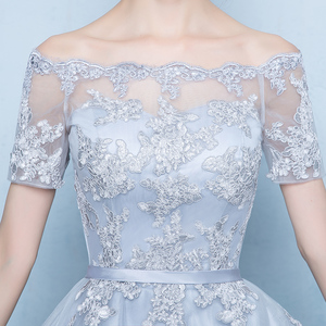Image 3 - ruthshen 2018 New Arrival Grey Asymmetrical Prom Dresses High Low Appliques Vestidos De Prom Party Gowns With Short Sleeves