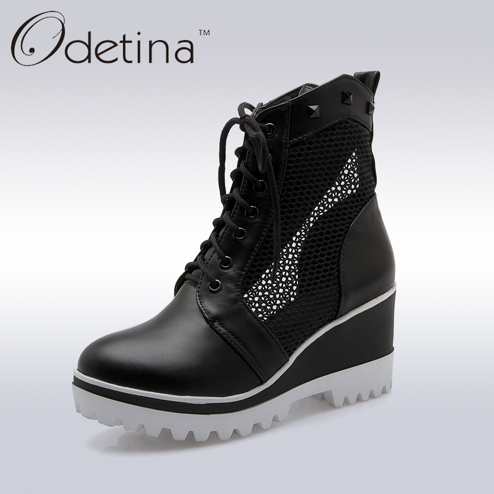 Odetina 2017 Spring Women Wedges Platform Short Ankle Booties Air Mesh Women Summer Lace Up Casual Shoes with Rivets Plus Size