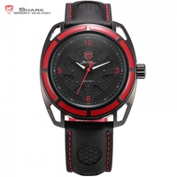 New Shark Sport Watch Thresher Shark Series Red Case Black Red Dial Black Leather Band White