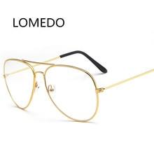ФОТО metal gold frame fashion clear lens plain glasses transparent sunglasses aviator clear glasses men