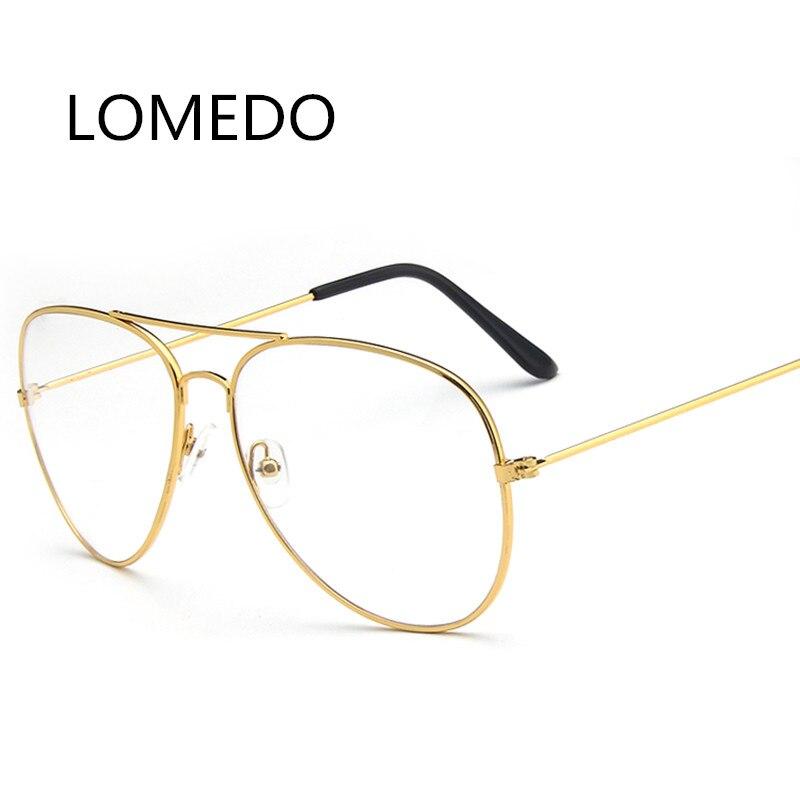ec9ecfc4356d Metal Gold Frame Fashion Clear Lens Plain Glasses Transparent ...