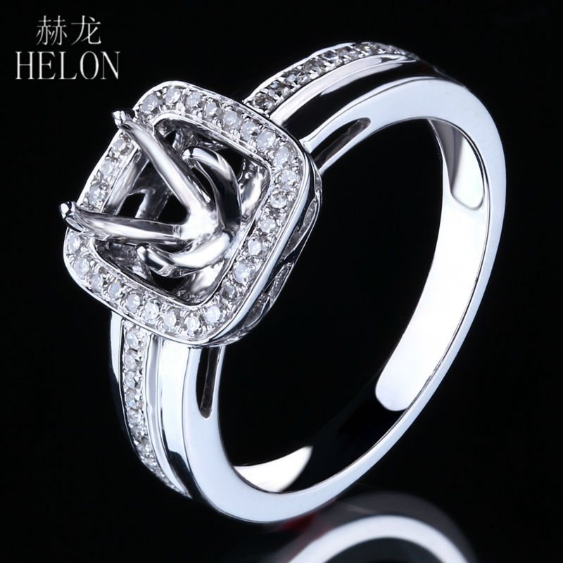 HELON Solid 10K White Gold  6-7mm Round Pave 100% Genuine Natural Diamonds Semi Mount Halo Engagement Wedding Fine Jewelry RingHELON Solid 10K White Gold  6-7mm Round Pave 100% Genuine Natural Diamonds Semi Mount Halo Engagement Wedding Fine Jewelry Ring