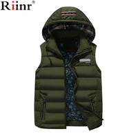 Riinr 2017 New Arrival Mens Jacket Sleeveless Veste Homme Winter Fashion Casual Coats Male Hooded Cotton
