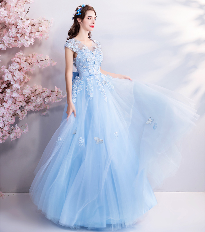 Image 4 - Walk Beside You Tulle Prom Dresses Blue Lace Appliques Beading A 