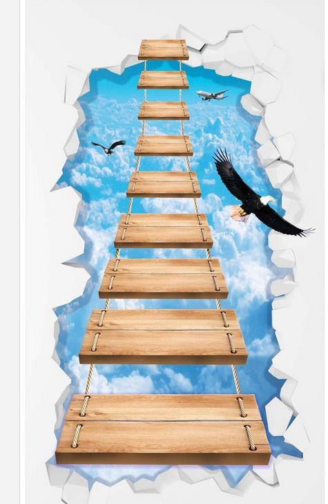 3d papier peint étanche pvc papier peint 3d ciel pont en bois 3D étage 3d papier peint pvc salle de bains papier peint étanche - 4