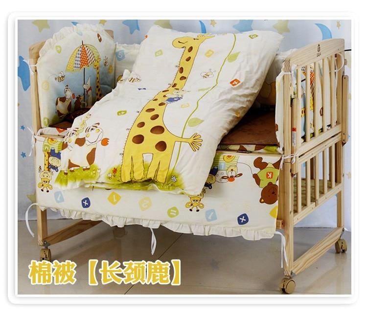 Фото Promotion! 6PCS Bear Cot Crib Beddings,Wholesale and Retail Children Cot Sets,(3bumper+matress+pillow+duvet). Купить в РФ