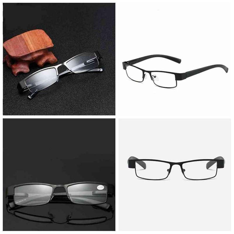 1pcs Unisex Elderly Square Eyeglasses Business Metal Reading Glasses 1.0 1.5 2.0 2.5 3.0 3.5 4.0 CWW9205