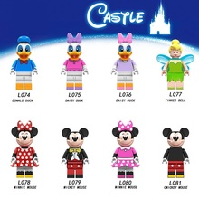 цена на 20Pcs/Lot Legoed Cartoon Minifigured Mickey Duck Minnie Mouse Donald Daisy Tinkerbell Building Blocks Figures Children Toys L074