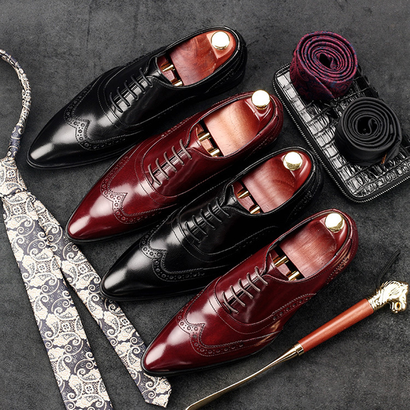 Esculpida Sapato Respirável Vestido Oxfords Bullock Couro De Brogue Sapatos Apontado Genuíno Mens Formal Preto Dedo Estilo vermelho Britânico Vinho Ap7wq