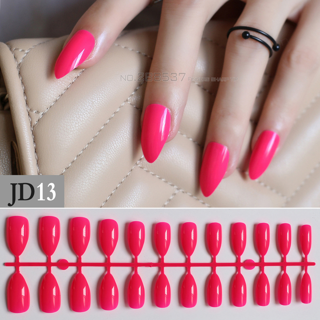 New Rose Red Full Cover Fake Short Stiletto Nails Deep Red 24pcs