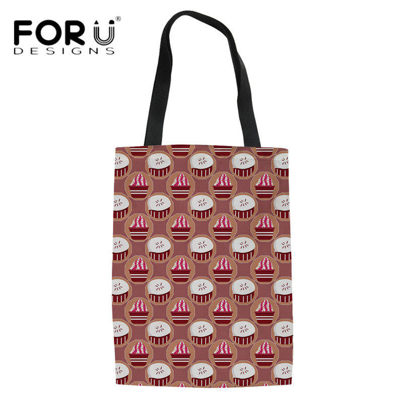 FORUDESIGNS Casual Red Linen Handbags Women Candy Color Pattern Eco-friendly Shopping Bags Teen Girls Daily Travel Shoulder Bag