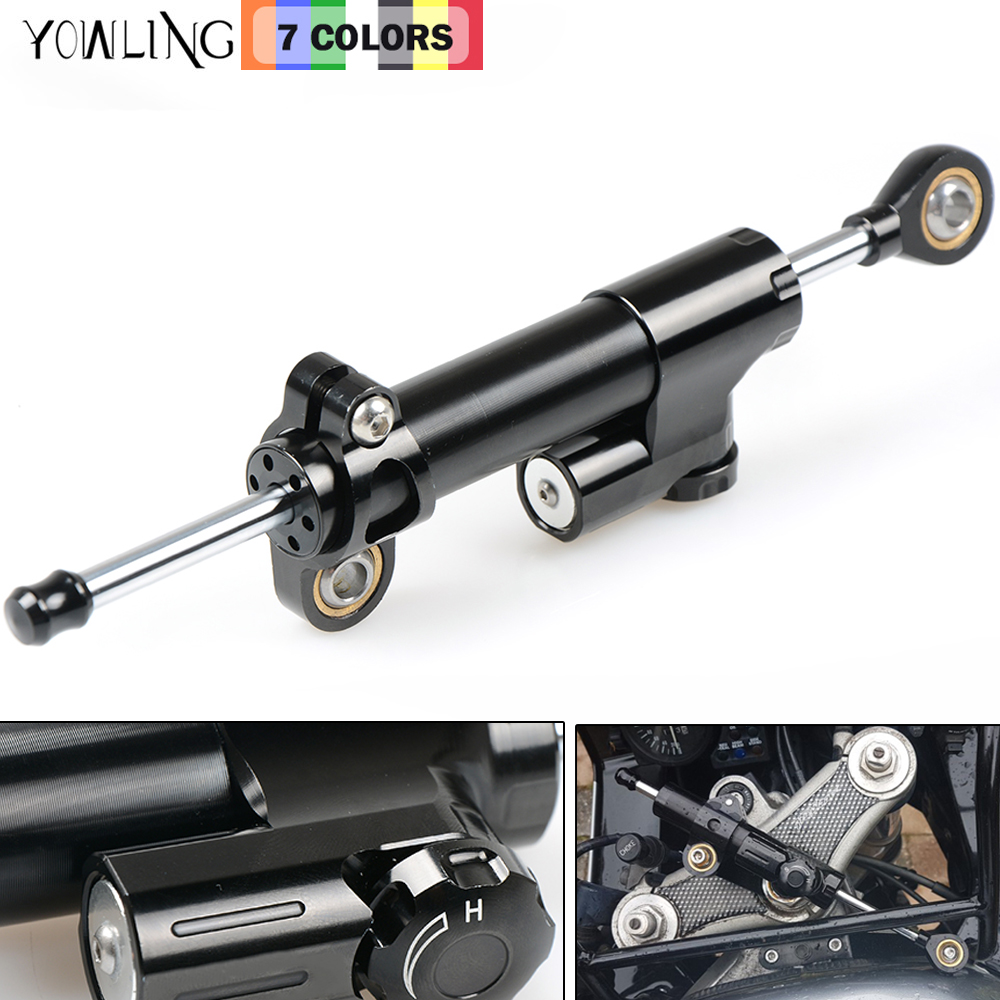 Acouto Universal Motorcycle Steering Damper Stabilizer Linear Reversed Safety Control Bar Aluminum