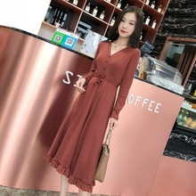 Long Sleeve Dress V-Neck New Was Thin 2019 Spring And Autumn New Long Section Slim Knit Dress Female Dresses Woman Party Night hzirip women knitted dress 2018 new spring autumn elegant vintage v neck button slim fit long sleeve solid color knit dresses