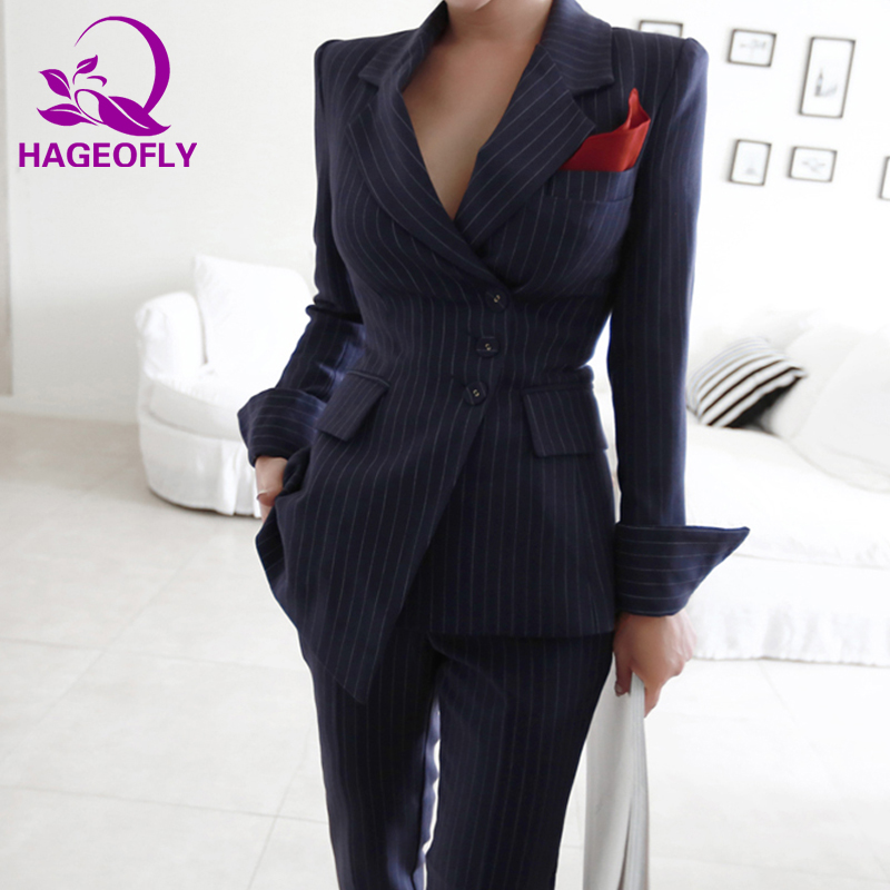 HAGEOFLY Autunm Winter Striped Blazer Suit Women Business 2 Piece Suits Korean Slim Jacket with Pants Fashion Women Suits 2018