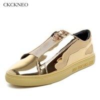 brand Leather men's sport Skateboarding Shoes popular waterproof comfortable gold black shiny sneakers for men skateboard shoes