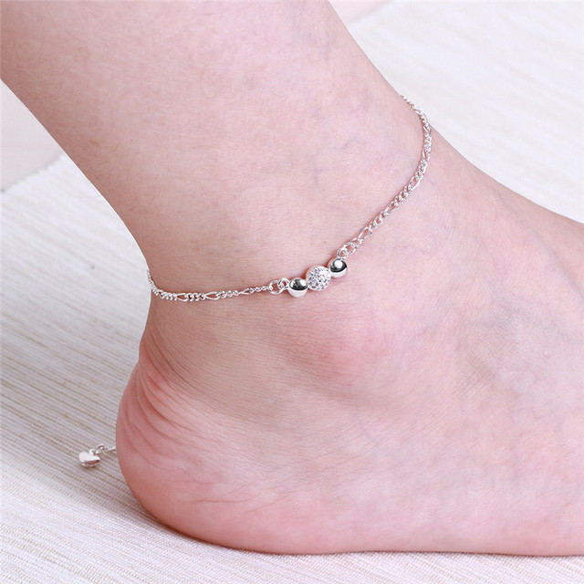 Silver Plated Anklet with Zircon Charm