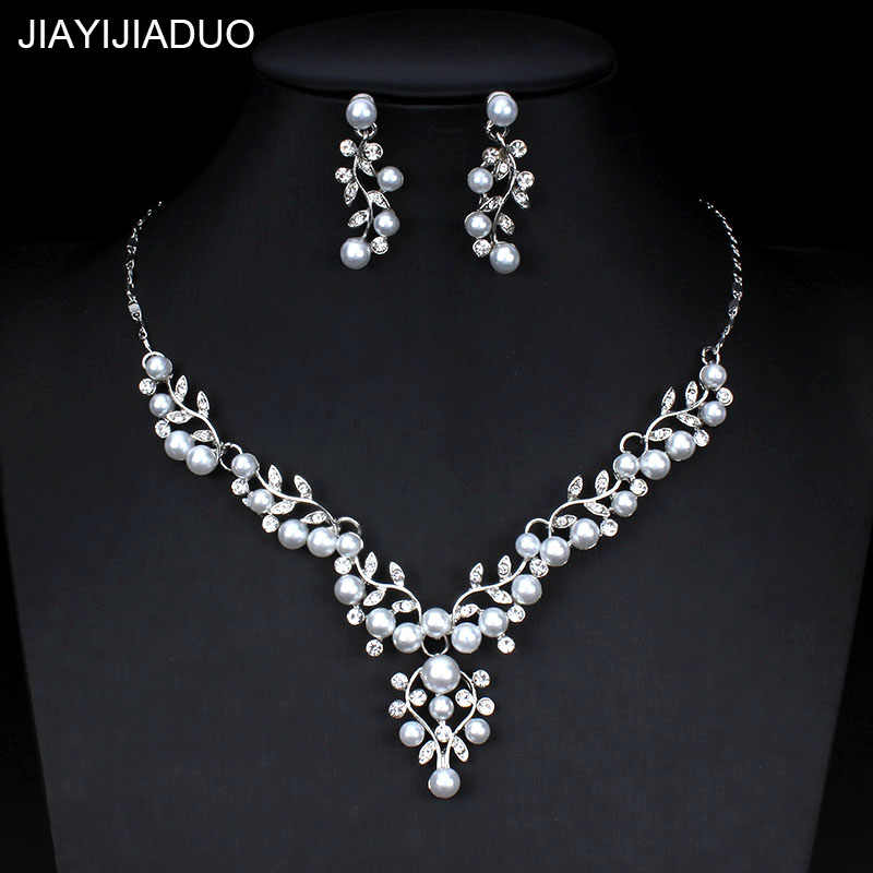 jiayijiaduo Imitation pearl jewelry set for women wedding wedding dress accessories crystal necklace earrings set silver color