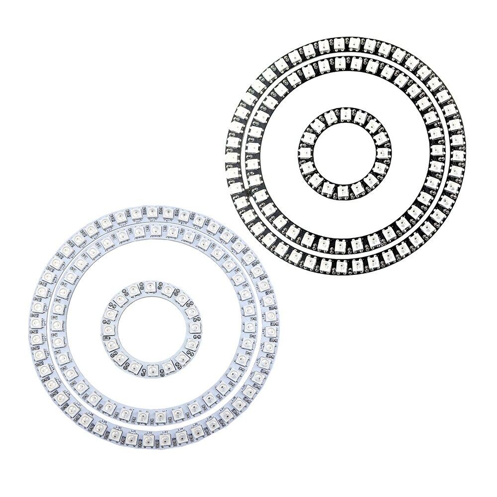 DC5V WS2812B Led Module Strip 5050 SMD RGB Individual Addressable Ring Round Led Pixel Light Black/White PCB 16/35/45Leds DF