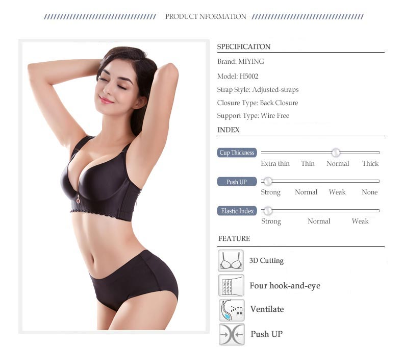 MIYING 17 New Bra&Brief Sets Deep V Shape Push Up Solid Sexy Big size D E Common Cup Women's Underwear 5