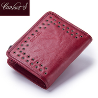 Contact S 2017 New Genuine Leather Wallet For Women Vintage Brand Small Short Ladies Purse Zipper