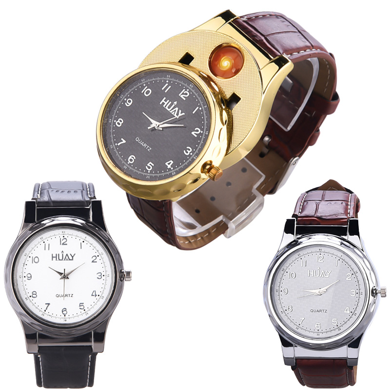 USB Electronic Lighter Watch Men Rechargeable Cigarette Lighter Men's Casual Quartz Wristwatches Windproof Flameless Box Pack 40 f667 fashion rechargeable usb lighter watches electronic men s casual quartz wristwatches windproof flameless cigarette lighter