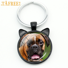 TAFREE Brown Dog photo keychain special handmade black cat ear key chain cute and beautiful bag accessory fashion jewelry DG21