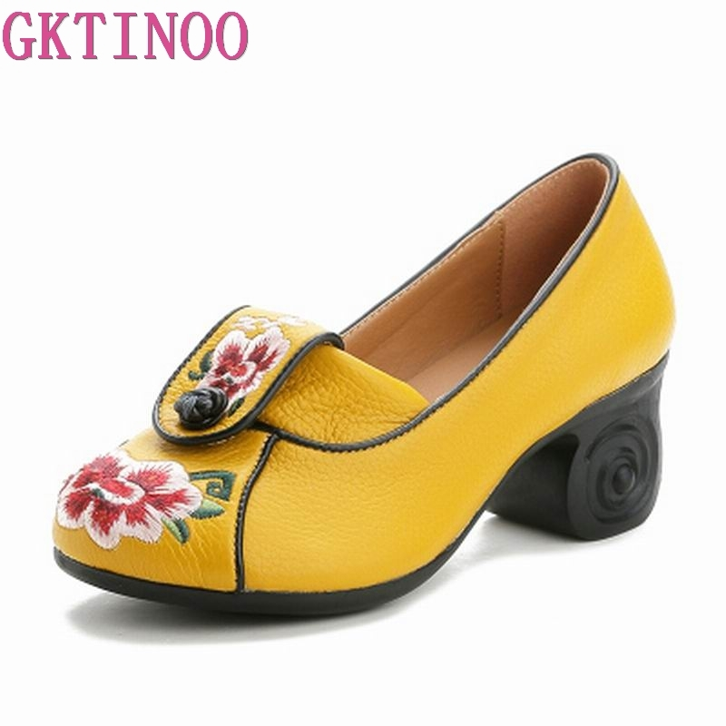 GKTINOO Wedding Embroidered Genuine Cow Leather Shoes Woman New High Heels 2019 Elegant Fashion Shoes Women High Heel ShoesGKTINOO Wedding Embroidered Genuine Cow Leather Shoes Woman New High Heels 2019 Elegant Fashion Shoes Women High Heel Shoes